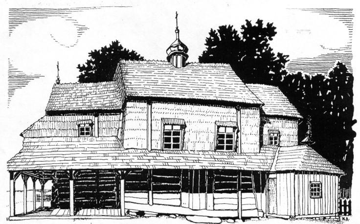 Горішня церква Пр. Покрови у Попелях (З альбомів М. Драгана)